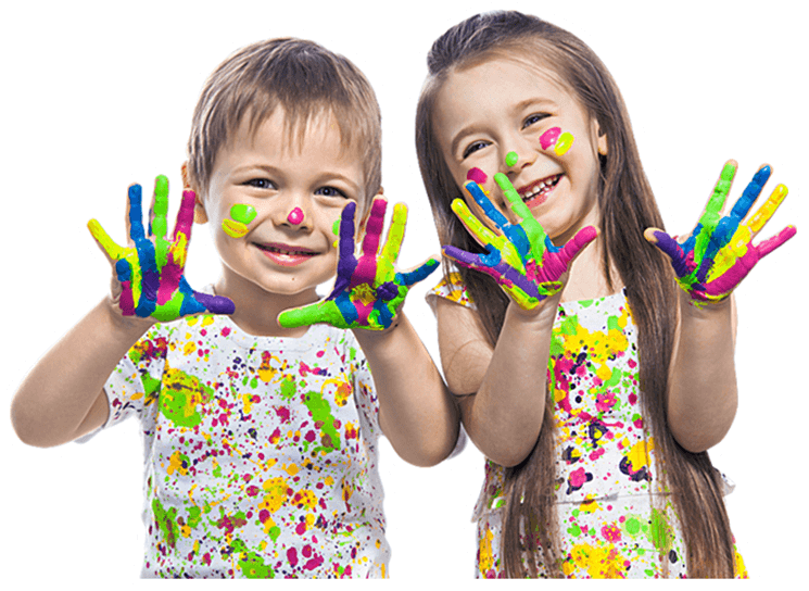 two happy kids with painted hands